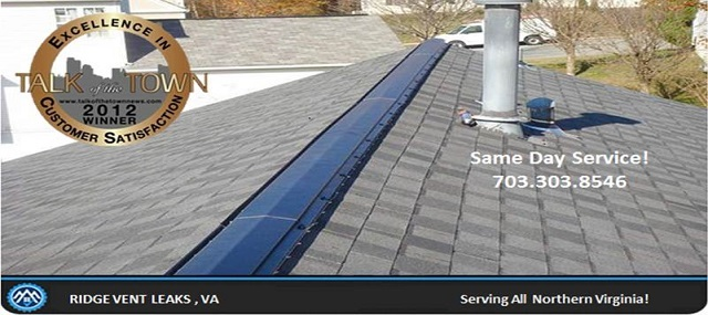 cheap photo of a ridge vent leak repair in virginia with roof vents leaking