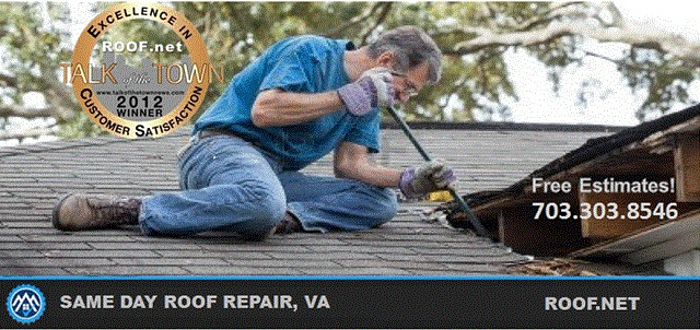 Roofer performing a same day roof repair in Fairfax County Virginia