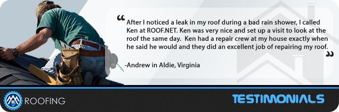 Roof repair Aldie testimonials
