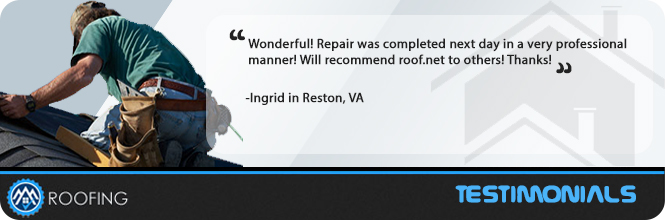 Image of a roofer completing a roof repair in Reston Virginia