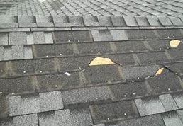 Image of blown off shingles in Sterling Virginia that can be repaired on the same day