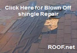 Image of blown off shingle repair in Manassas that must be done immediately to prevent leaks