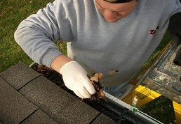 Image of a Roofer doing Gutter Cleaning in South Riding Virginia