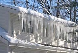 This image shows an ice dam repair in Sterling Virginia that needs to be repaired to prevent leakage inside the walls
