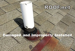 Image of a Improperly Installed and Damaged Roof Pipe Flashing that can Cause Roof Leaks to Your Loudoun County Virginia Home.