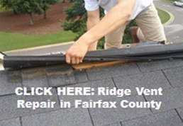Image of a roofer doing a Same Day Ridge Vent Leak Repair in Fairfax County Virginia