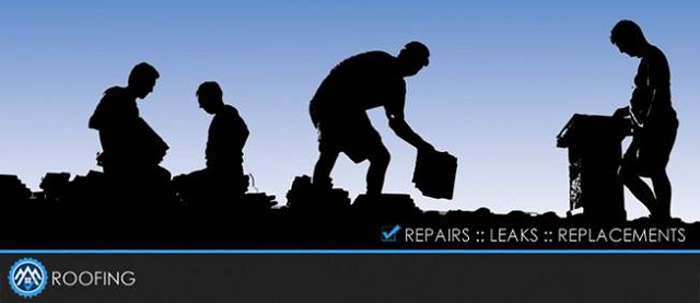 Image of roof repair Virginia roofers hard at work