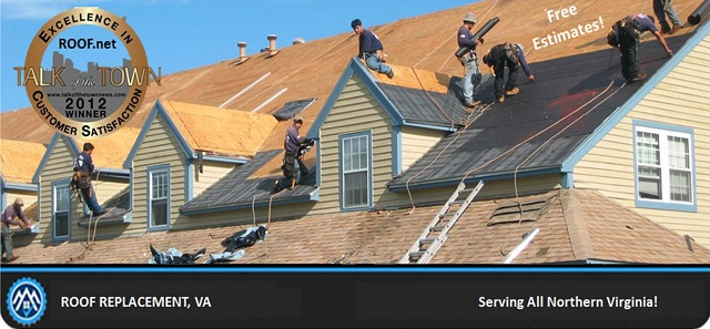 Photo of roofers installing a new roof replacement in Virginia