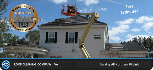 Image of a roof cleaning job in progress in Virginia