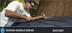 Image of Roofer performing missing shingle repair in Virginia to prevent roof leaks