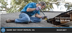 Image of a roofer doing Same day roof repair in Virginia