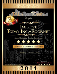 Roof.net in Fairfax Virginia has The Talk of The Town Award for Roof Repair Roof Replacement. Less than 5% of companies win this award