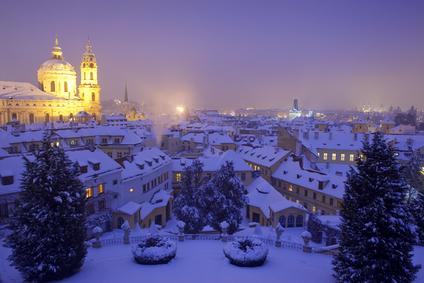 prague - st. nicolas church and rooftops of mala strana in winter